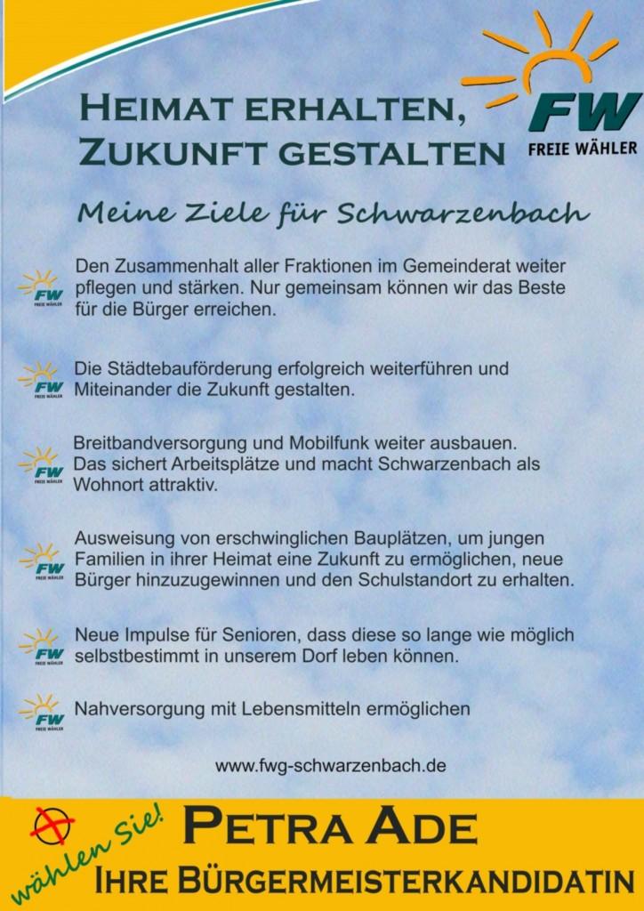 Ades ziele für die Gemeinde Schwarzenbach