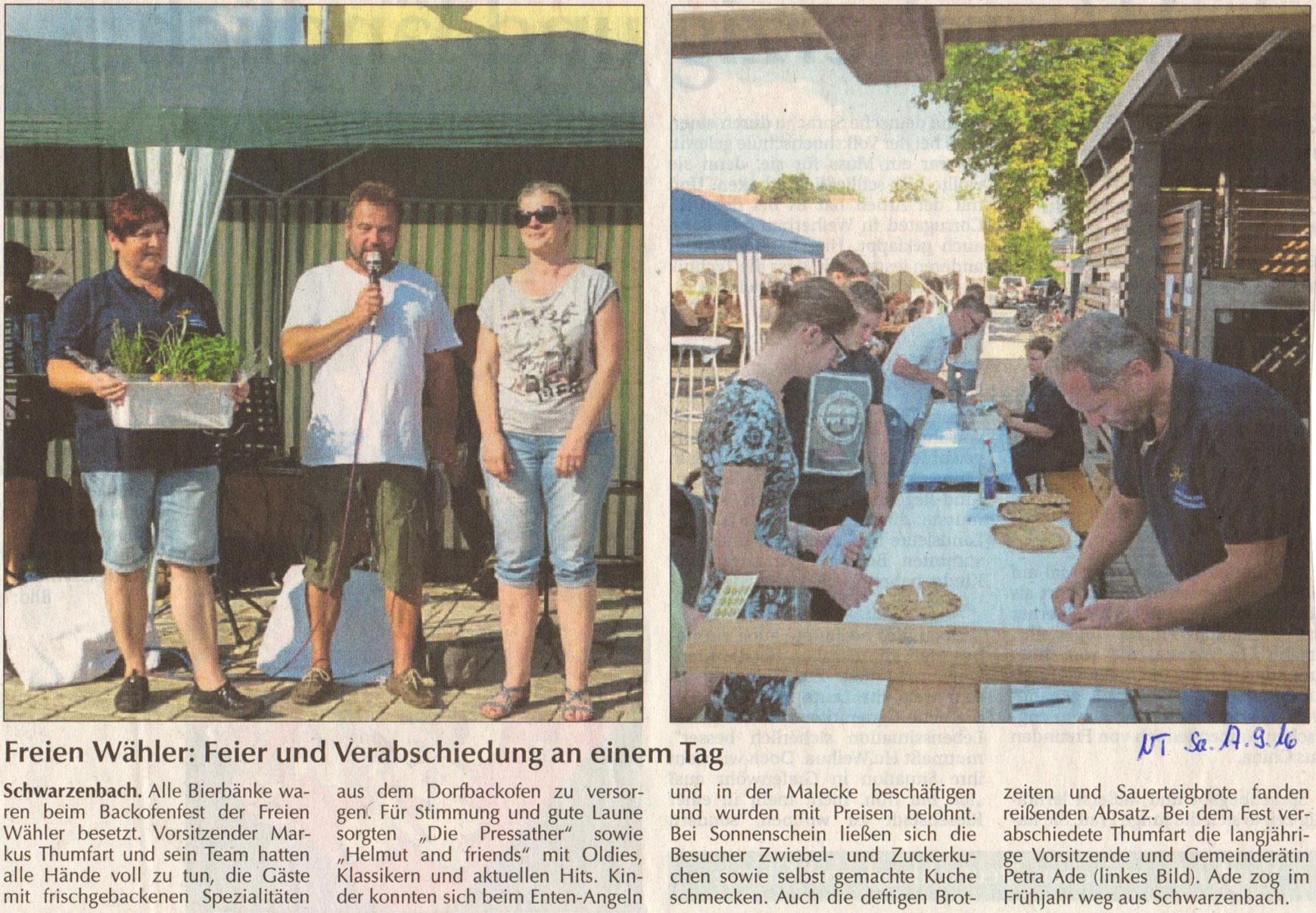 Zeitungsbericht Backofenfest 2016